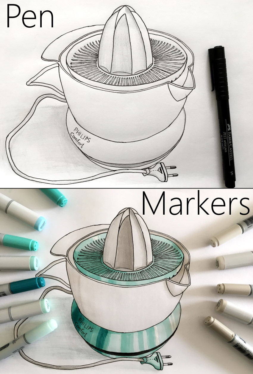 Drawing juice squeezer with pen and markers