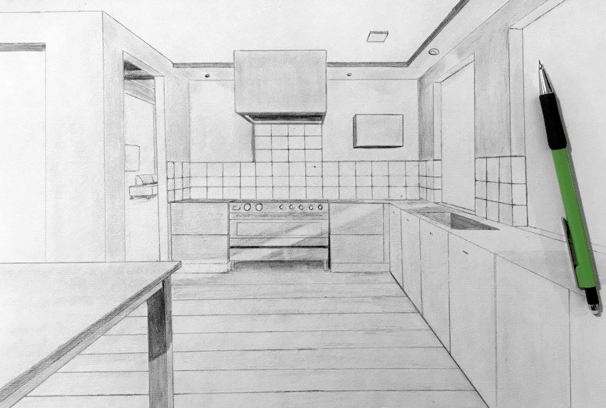 Kitchen drawn in one point perspective