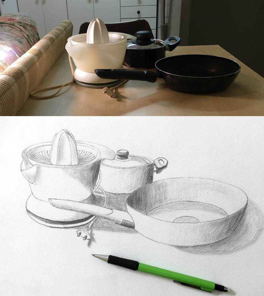 Pots & kitchen tools sketch with a mechanical pencil
