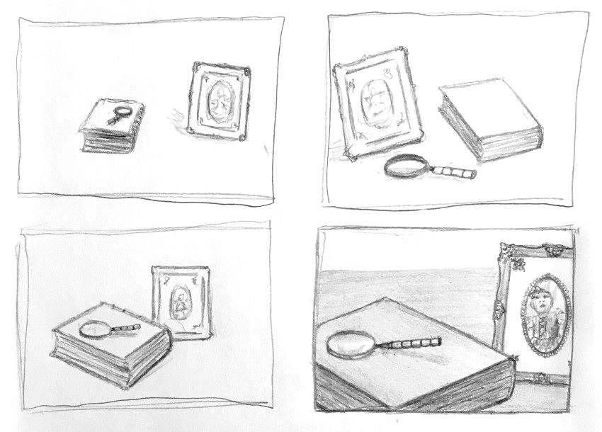 Use of thumbnails to build still life composition